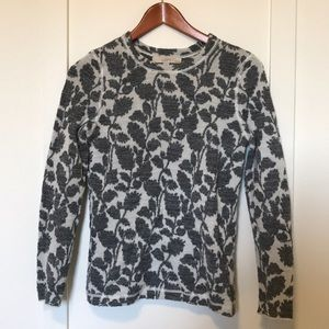 LOFT white and gray floral sweater